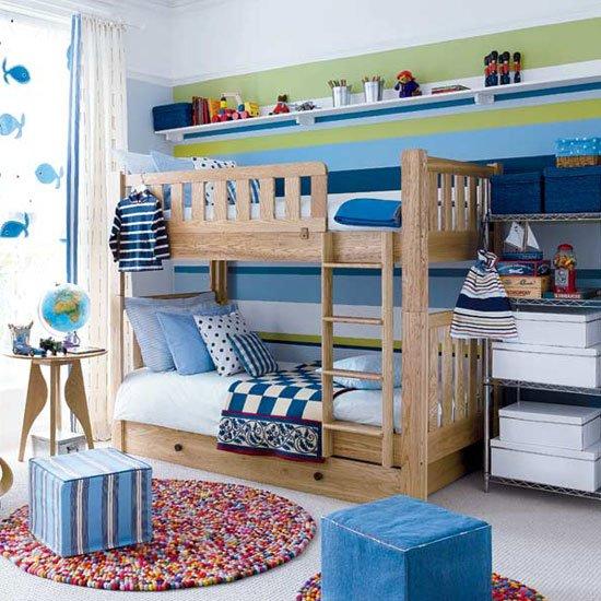 10-blue-green-white-striped-wall-modern-kids-room-childs-bedroom-boys-girls-unisex