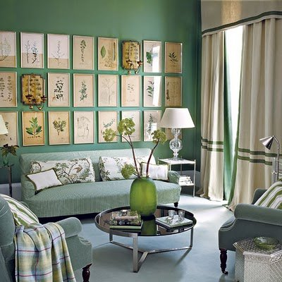 living-room_vintage-framed-botanicals-wall-art-grouping-green-ticking-velvet-ivory-silver-traditional-eclectic-sage-mint-apple-stripes-banded-curtains_house-to-home