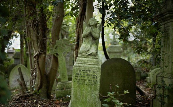 Angel sculpture in Highgate Cemetery in London England UK