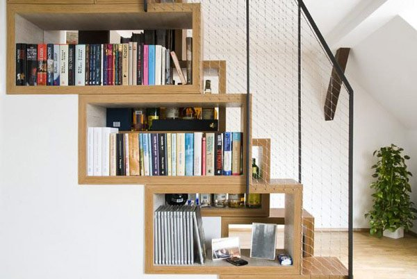 Beautiful-book-shelf-that-matches-the-design-of-the-stairs