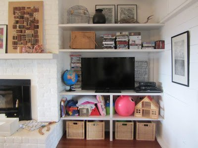 Ideas for Some Sneaky Storage toys and media in the living room