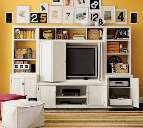Types-of-Living-Room-Storage-With-Yellow-Walls