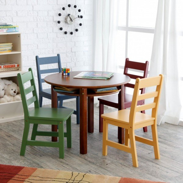 Appealing-Dining-Table-Set-in-Rounded-Design-Finished-with-Various-Colors-of-Childrens-Chairs-in-Green-Yellow-and-Blue-as-well-as-Brown-Color-936x936