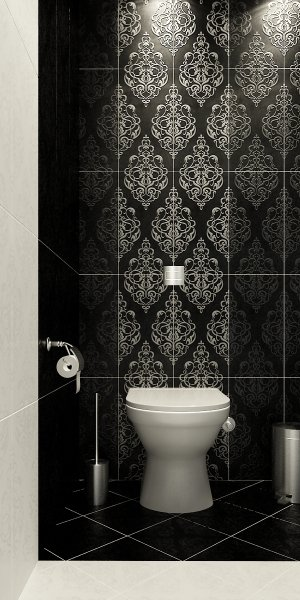 Modern-classic-black-and-white-tile-Toilet