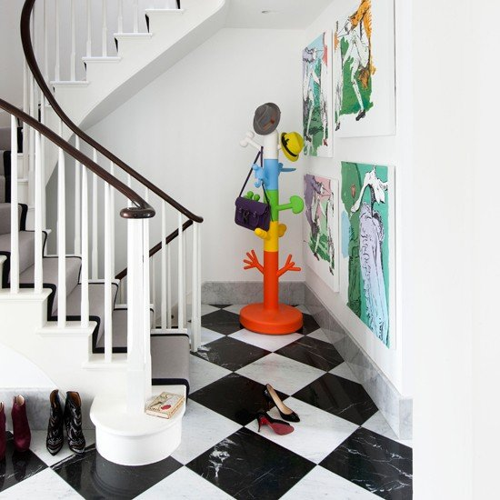 Black-and-White-Modern-Hallway-Livingetc-Housetohome