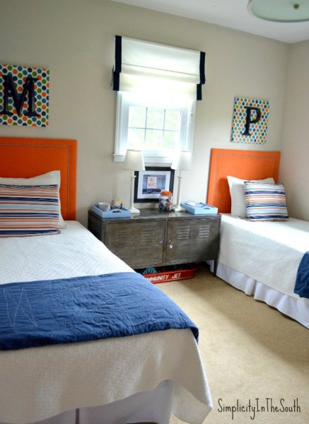Boys-orange-and-blue-shared-bedroom-by-Simplicity-In-The-South.