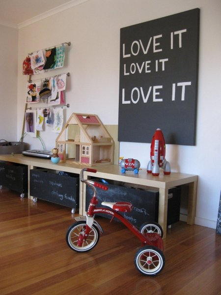 Gorgeous-Chalkboard-Storage-and-Red-Trike-Childs-Playroom-Blonde-Wood