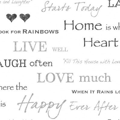 BLACK  SILVER - FD40427 - HOME IS WHERE THE HEART IS - WALL WORDS - FINE DECOR WALLPAPER