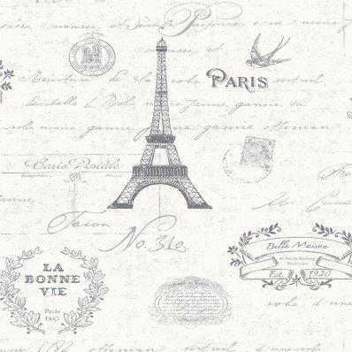 GREY WHITE - 89181 - PARIS - CALLIGRAPHY - KITCHEN & BATHROOM - LUXURY SCULPTED VINYL - K2 - HOLDEN DECOR WALLPAPER
