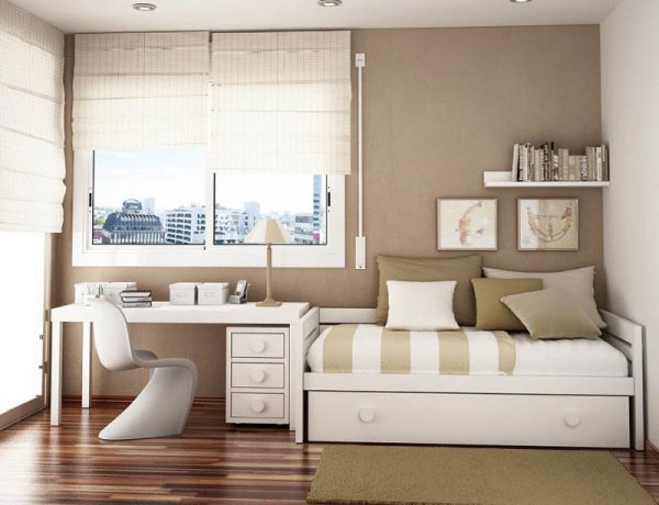 Elegant-Bed-And-Study-Compact-Room-With-Beige-Stripe-On-White-Design-800x614