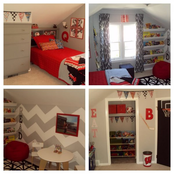 bedroom-gym-likable-gray-loft-bedroom-design-in-small-room-ideas-with-striking-red-bedding-and-gray-bedside-cabinet-also-gray-white-wavy-wall-and-red-couch-and-black-white-rug-for-boys-room-ideas-cut