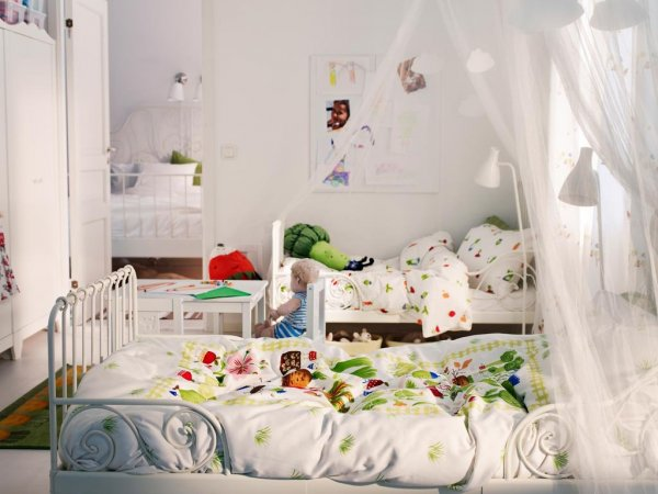 bedroom-white-shared-kids-bedroom-design-idea-with-canopy-bed-and-silk-drapery-behind-headboard-and-white-wall-paint-idea-15-trendy-kids-bedroom-design-ideas-to-inspire-you-awesome-kids-bedroom-furni