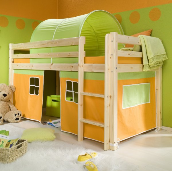 playroom-minnie-solid-pine-natural-midsleeper-bed-with-orange-tent-bed-and-green-wall-paint-color-12-kids-tents-for-beds-kids-tents-and-tunnels-kids-camping-tents-toddler-bed-tent-canopy
