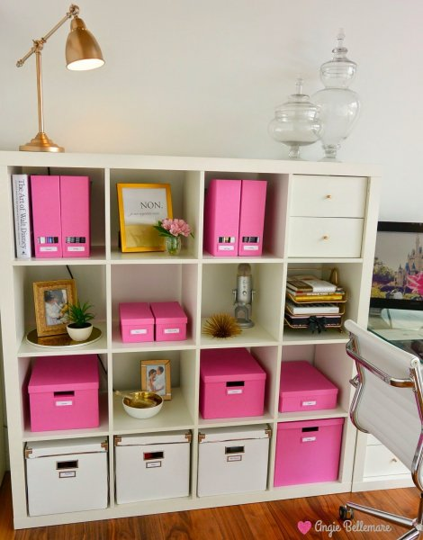 pink gold white office space organize ikea