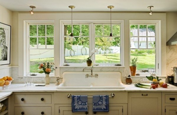 White-Farmhouse-Sink-With-Large-Windows-For-Natural-View-Listed-In-Clean-And-Bright-Farmhouse-Sink-Design-Ideas