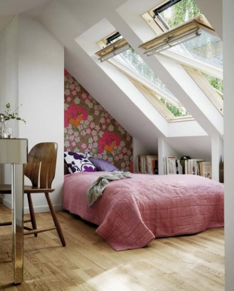 fair-attic-home-interior-design-cozy-windows-floral-pattern-wall-decal-brown-unique-shape-chair-flowers-decor-attic-designs-interior-fabulous-attic-designs-inspiration