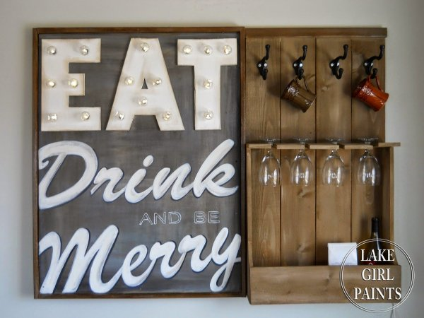 Eat Drink and Be Merry Wine Sign