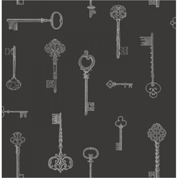 Fine Decor Keys Wallpaper Black Silver