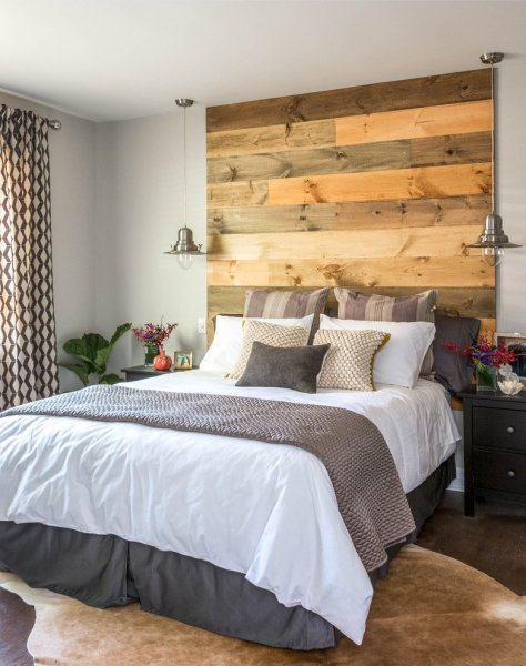 reclaimed-wood-headboard-Bedroom-Contemporary-with-after-area-rug-bed-skirt-cowhide-craftman-dark-wood-decor-DIY-family