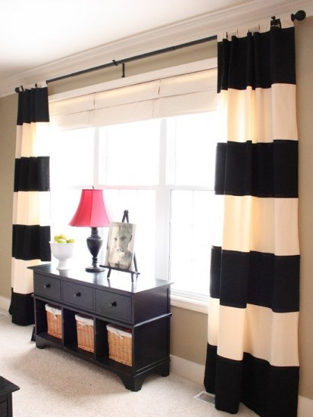inspiring-blinds-and-curtains-together-pictures-with-black-curtain-rod-and-cool-table-with-drawers-and-sliding-baskets